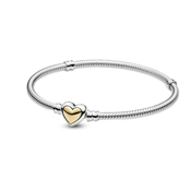 Domed Golden Heart Clasp Snake Chain Bracelet by Pandora