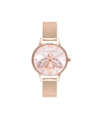 Olivia Burton Rainbow Bee Rose Gold Mesh Watch