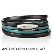 Antonio Ben Chimol Turquoise & Black Leather Bullet Bracelet