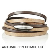 Antonio Ben Chimol Champagne & Dark Brown Leather Bullet Bracelet