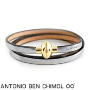 Antonio Ben Chimol Old Silver Leather Rainbow Bracelet