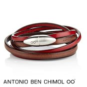 Antonio Ben Chimol Brown & Red Leather Bullet Bracelet