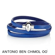 Antonio Ben Chimol Electric Blue Leather Rainbow Bracelet