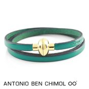 Antonio Ben Chimol Turquoise Leather Rainbow Bracelet
