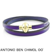 Antonio Ben Chimol Aubergine Leather Rainbow Bracelet