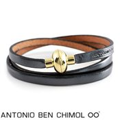 Antonio Ben Chimol Gunmetal Leather Bracelet