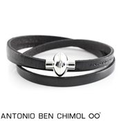 Antonio Ben Chimol Classic Black Leather Bracelet
