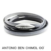 Antonio Ben Chimol Blue & Grey Leather Bullet Bracelet