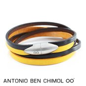 Antonio Ben Chimol Yellow & Black Leather Bullet Bracelet