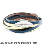 Antonio Ben Chimol Gold and Navy Bullet Bracelet