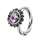 Pandora Purple Amethyst Floral Ring