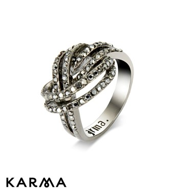 Karma Gunmetal Interlocking Ring