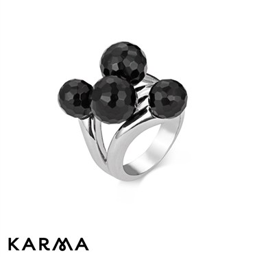 Karma Black Crystal Bauble Ring
