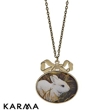 Karma Bow Rabbit Pendant Necklace
