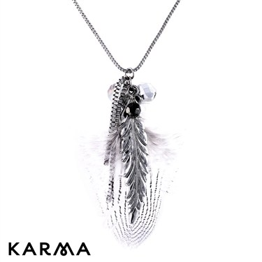 Karma Feather and Bead Necklace