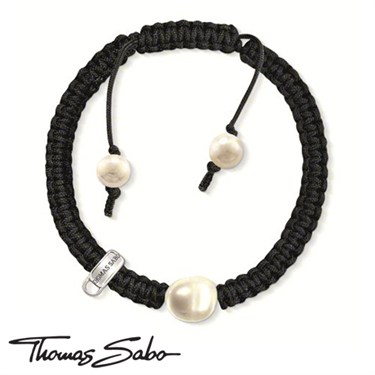 Thomas Sabo Pearl & Cord Charm Bracelet - Click to view larger image