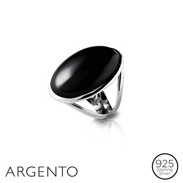 Argento Black Agate Stone Ring
