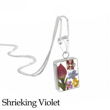 Shrieking Violet Mixed Flower Rectangle Necklace