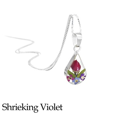 Shrieking Violet Mixed Flower Teardrop Necklace