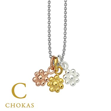 Argento Three Flower Tone Necklace