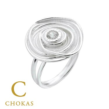 Argento Silver Swirl Crystal Ring