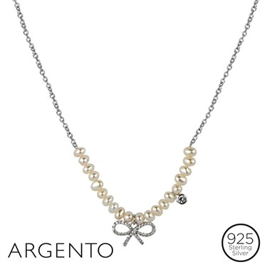 Argento Pearl and Bow Necklace