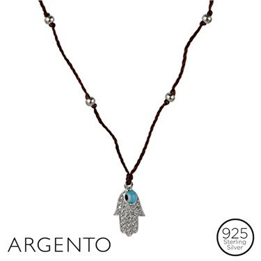 Argento Peace Hand and Bead Necklace