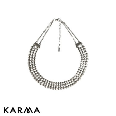 Karma Triple Row Collar Necklace