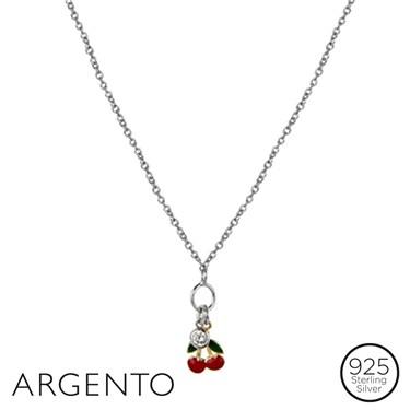 Argento Enamel Cherries Necklace