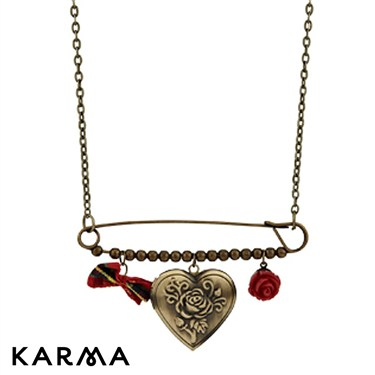 Karma Safety Pin Heart Necklace