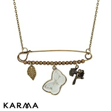 Karma Safety Pin Butterfly Necklace