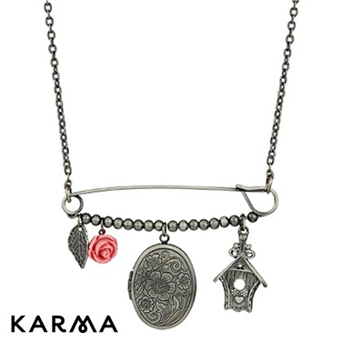 Karma Safety Pin Locket Necklace