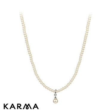 Karma Pearl Strand Drop Necklace