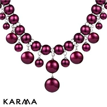Karma Dangling Fuchsia Pearl Necklace
