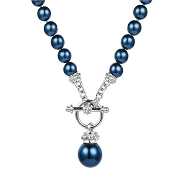 Karma Dark Blue Pearl T-Bar Necklace