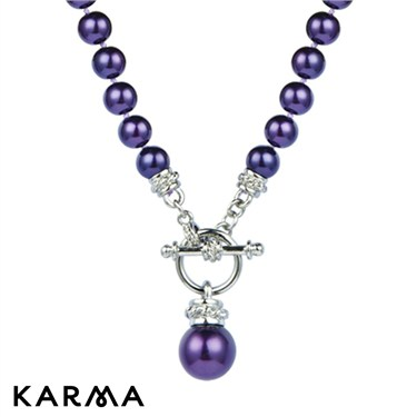 Karma Dark Purple Pearl T-Bar Necklace