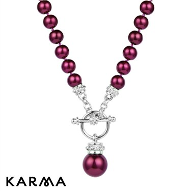 Karma Fuchsia Pearl T-Bar Necklace