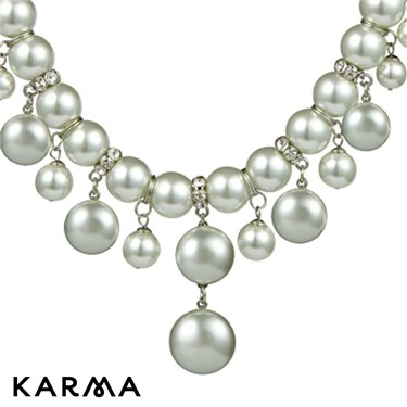 Karma Dangling White Pearl Necklace