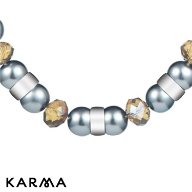Karma Grey Pearl and Chain Necklace