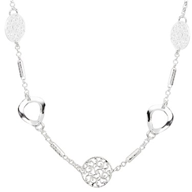 Argento Silver Circle Motif Necklace