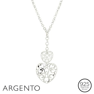 Argento Silver Ornate Heart Necklace