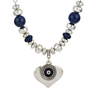 Karma Bead and Drop Heart Necklace