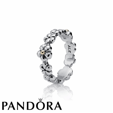 Pandora Small 14K Gold Tip Flower Ring