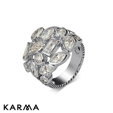 Karma Clear Crystal Stones Ring