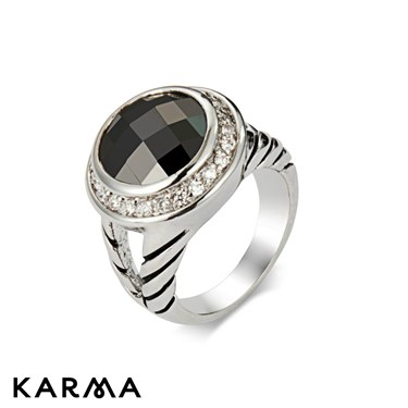 Karma White and Black Crystal Rings