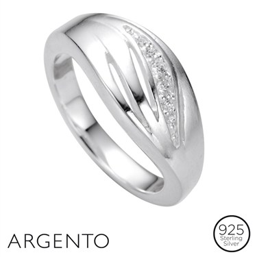 Argento Cubic Zirconia Wave Ring