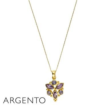 Argento Amethyst Petal Necklace