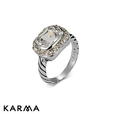 Karma Engraved Band Cocktail Ring