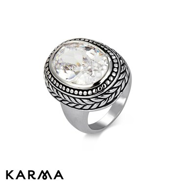 Karma White Crystal Antique Ring