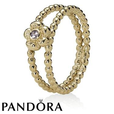 Pandora Flower Pink Sapphire Ring